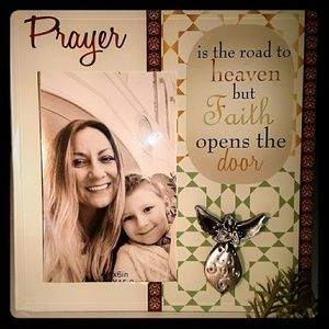 Prayer Glass Picture Frame With Silver Angel NWT